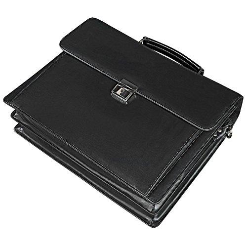 STILORD 'Johann' Maletín negro hombres mujeres compartimento para el portátil de 15,6 pulgadas business bag con Candado Piel de color negro