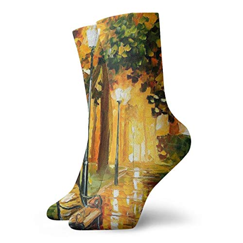 SARA NELL Novelty Funny Crazy Crew Sock Rain Night in The Park Oil Painting 3D Printed Winter Sport Athletic Socks 30cm Long Personalized Gift Socks]()