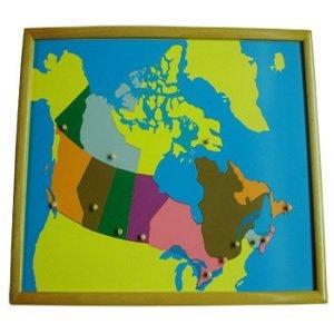 Montessori Carta Geografica Del Canada Con Cornice Premium Geografia