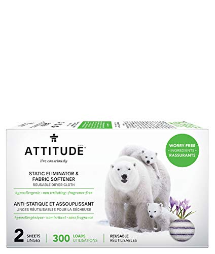 ATTITUDE Hypoallergenic Static Eliminator Cloths & Softeners, Fragrance Free, Reusable for Up to 300 Loads