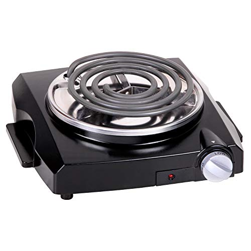 Techwood Hot Plate Single Burner Electric Stove Cooktop Portable Burner Coil Countertop Burner, 1100W with Adjustable Temperature Control, Stay Cool Handles, Indicator Light, Easy To Clean, Black ES-3108