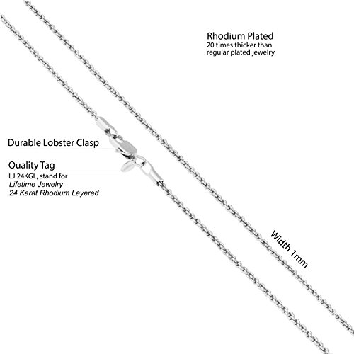 Lifetime Jewelry 1mm Rope Chain 24K White or Yellow Gold Plated Pendant Necklace for Men and Women Made Thin for Charms 16 to 30 Inches (20) by Lifetime Jewelry (Image #3)
