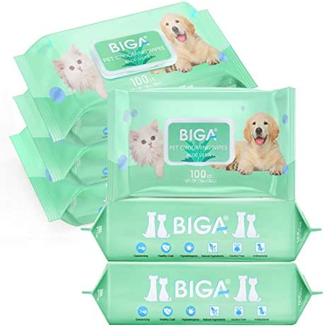 Deodorizing Hypoallergenic Pet Wipes with Fragrance Free Natural Organic for Cleaning Face Butt Eyes Ears Paws Teeth 100ct per Pack…