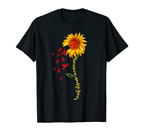 Sunflower Red-Ribbon Heart Disease Short Sleeve -