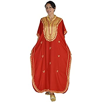 3998865f17 Moroccan Caftan Hand Made Top Quality Breathable Cotton with Gold Hand  Embroidery Long Lenght Red