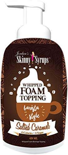 Jordan's Skinny Syrups | Sugar Free Salted Caramel Whipped Foam Coffee Topping | Healthy Flavors with 0 Calories, 0 Sugar, 0 Carbs | 16oz Bottle