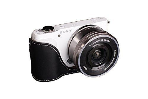 ソニー NEX-3N (NEX3N)用本革カメラケース ブラック B07T4JXQDG カメラケース&ストラップTP1881&バッテリーケース FreeSize