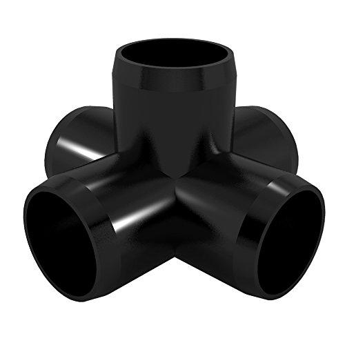 "FORMUFIT F0015WC-BK-4 5-Way Cross PVC Fitting, Furniture Grade, 1"" Size, Black"