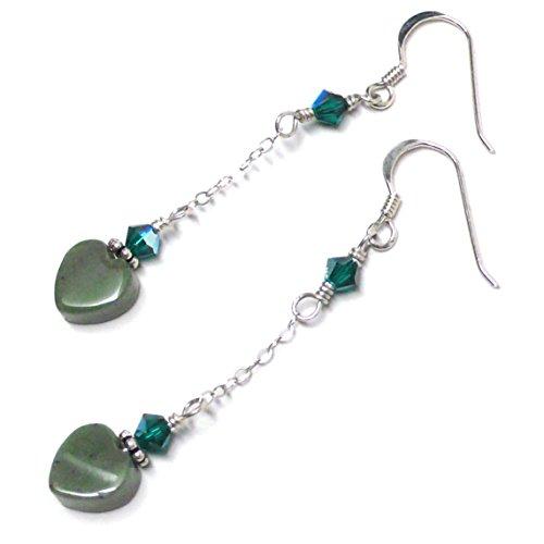 - 8mm Fancy Agate Heart Earrings Chain Dangle Swarovski Crystal Sterling Silver Medium Green