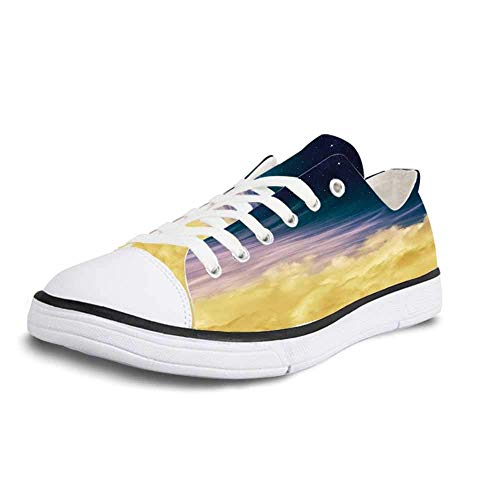Canvas Sneaker Low Top Shoes,Surrealistic Dreamy Night Sky with Crescent Moon Stars Galaxy Universe Print Decorative Women 5 (Flag With Crescent Moon And 5 Stars)
