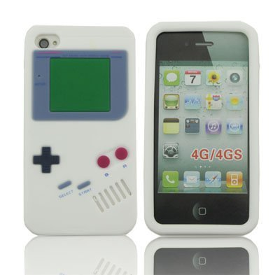LETOiNG-4GJ#19 Silicone Gameboy Design Case / Skin / Cover for iPhone 4/4S-White Color