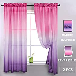 related image of Purple and Pink Sheer Curtains for Girls