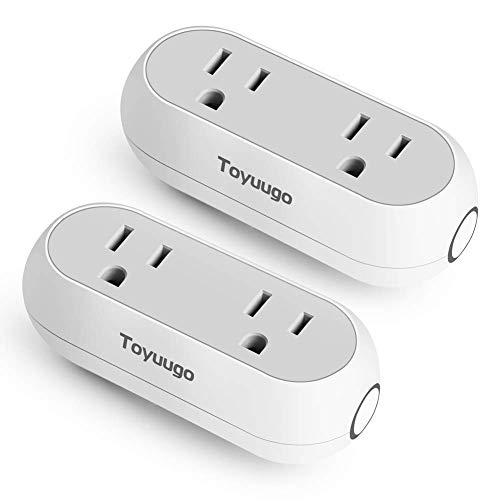 WiFi Smart Plug, Toyuugo Smart Dual Outlet Socket Works with Alexa Echo and Google Home IFTTT, Energy Monitoring Timing Wireless Outlets APP Remote Control from Anywhere, No Hub Required,2 pack