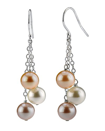 - THE PEARL SOURCE 14K Gold 7-8mm Round Genuine Multicolor Freshwater Cultured Pearl Dangling Tincup Earrings for Women