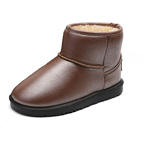 QLVY Boys Girls Low Boots Snow Boots Warm lined slip-resistant wear-resistant fiber leather upper comfort shoes Brown 35
