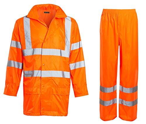 Shelikes Unisex Hi VIS Viz & Plain Rainsuit 2 Piece Set High Visibility Men Women Hooded Rain Suit Jacket & Trousers Waterproof PVC Workwear Rain Wear Size S-4XL (Orange Hi Vis, 4X-Large)