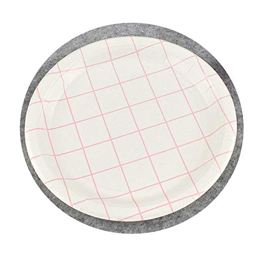 10PCS Birthday Party Pink Series Disposable Paper Plates Shower Heart DIY Decorations Supplies Lattice -