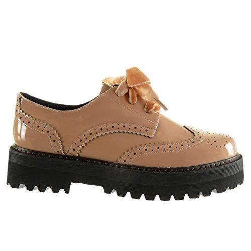 Scarpe verniciato Rosa Tacco zeppe alto blocco Angkorly finitura scarpa CM perforato a 4 donna derby Moda 5 impunture cuciture nBCxqdYw