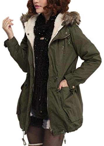 Casual 1 EKU Fur Jackets Faux Military Parkas Fleece Hood Lined Women 5OTO6nxv