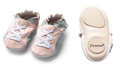 Jinwood designed by amsomo - Patucos de Piel para niña sport pink mini shoes