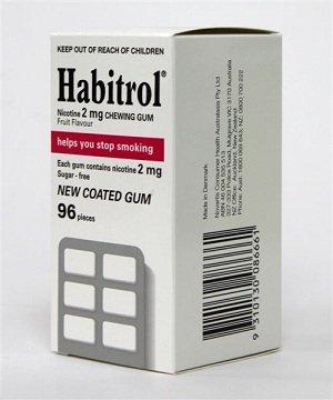 La nicotine Habitrol Quit Smoking Gum, 2 mg, gomme saveur de fruits couché. 96 pièces par boîte