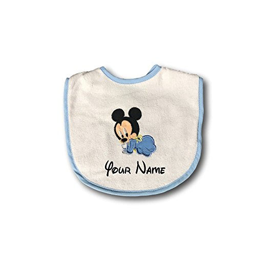 Personalized Disney Mickey Mouse Baby Bib (Mickey Cartoon Pluto And Christmas)