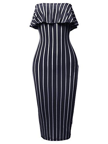 Slim Fit Off-Shoulder Pinstriped Crepe Tube Midi Dress Navy M