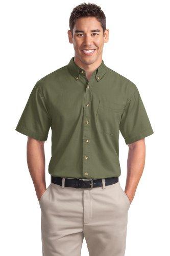 Port Authority Men's Short Sleeve Twill Shirt L Faded Olive (Short Sleeve Twill Shirt)