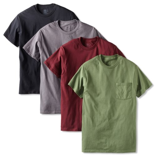Fruit of the Loom Men's 4 Pack Pocket T-Shirt, Assortment