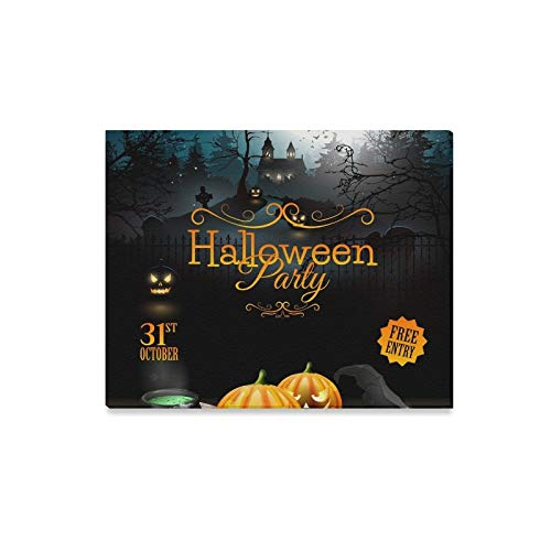 Wall Art Painting Halloween Party Flyer Pumpkins Hat