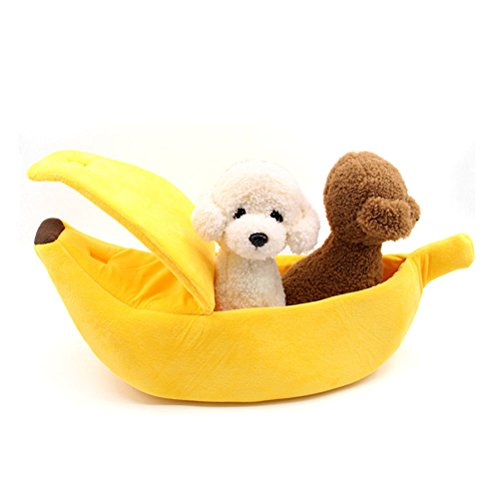 2019 Yellow Fleece - NACOCO Cat Banana Bed Pet Dog Boat Warm Hourse Solf Yellow Sleep Nest Winter Cotton Cushion Coral Fleece (L)