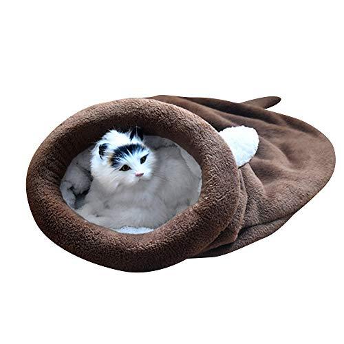 BLEVET Warm Waschbare Kätzchen Bett Winddicht Sack Kuschelig Tasche Decken Matte Haustier Schlafsäcke für Katze und Hund…