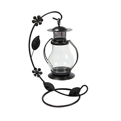 Highpot Romantic Candlestick Vintage Candle Holder European Style Metal Pillar Candelabra Wedding Gift Home Party Wedding Home Decor (Black)