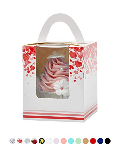 Yotruth Valentines Heart Cupcake Boxes for Mothers Day Pink 50 Sets Easy Assembly with Insert (Choice Series) (Best Valentine's Day Chocolate Box)