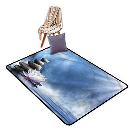 Large Area Rug,Spa Zen Spirituality Serenity Theme,Children Crawling Bedroom Rug,4'7