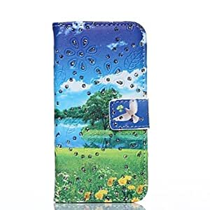 JOE Spring Scenery Pattern PU Leather Full Body Cover with Stand and Rhinestone for iPhone 6