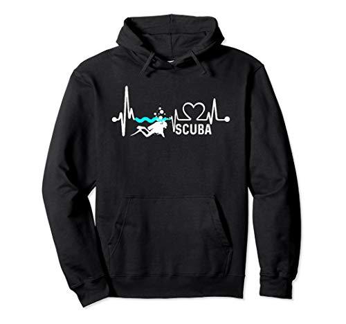 Deep SCUBA Diving Gift: Swimming Heartbeat Love Hoodie ()