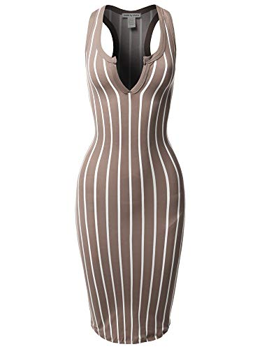 - Made by Emma Pinstripe Sleeveless Open V-Neck Racer-Back Body-Con Midi Dress Taupe M