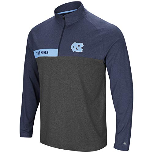 Colosseum Men's NCAA-No Mercy-1/4 Zip Pullover Windshirt-North Carolina Tar Heels-Heather Navy-XL