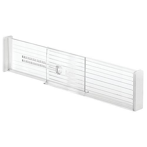 InterDesign Linus Adjustable Deep Drawer Organizer Dividers for Kitchen or Dresser - Set of 2; Clear (Expandable Drawer Dividers)