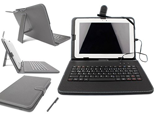 DURAGADGET Black Faux Leather Protective Case With Micro USB German Keyboard For Acer Iconia A3-A10 / W510 / W511 / A3-A10-L849 / A3-A10-L662 / W510-1458