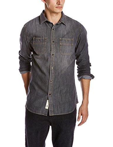 Quality Durables Co. Men's Slim Fit Denim Work Shirt Black X-Large Tall