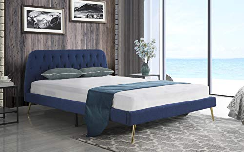 Mid Century Modern Elegant Fabric Bed Frame (Full, Navy)