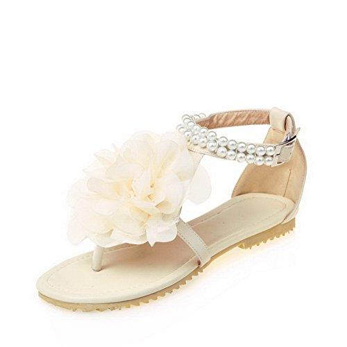 Voguezone009 Bout Ouvert Des Femmes Matériaux Mélangent Bas Talons Sandales Boucle Solide, Ccalo012406 Beige