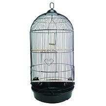 YML A1594 Bar Spacing Round Bird Cage, Large, Black