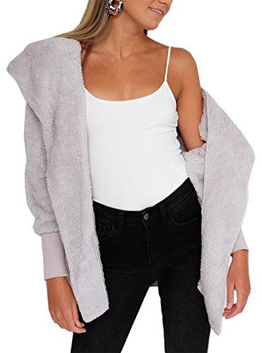 BTFBM Women Casual Long Sleeve Cardigan Warm Hooded Jacket Winter Coat Outwear (Grey, Medium) (Boot Fur Faux Sleeve)