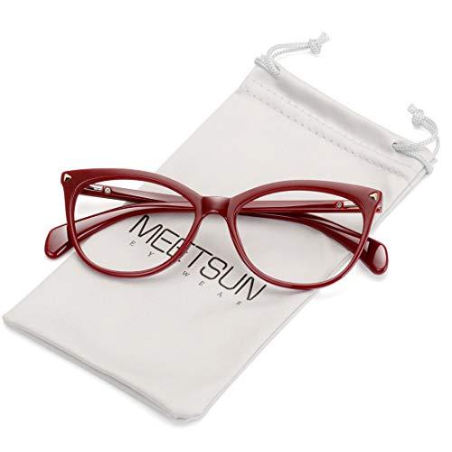 MEETSUN Non Prescription Glasses Frames For Women Fake Eyeglasses (Dark Red Frame Clear Lens, 0.0) (Red Prescription Frames)