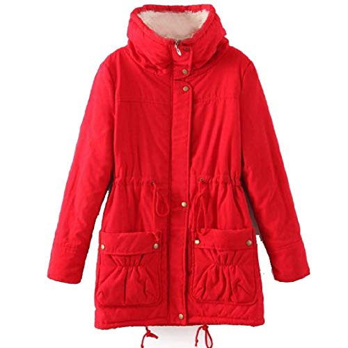 Red Size Lapel Slim Long Mid Womens Fit Plus Overcoat Outerwear Energy Pure Color 1qw7EZz