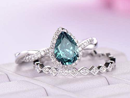 Amazon.com: Pear Alexandrite Engagement Ring Set Diamond