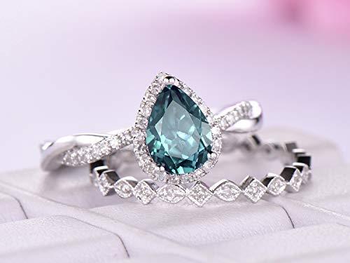 Pear Alexandrite Engagement Ring Set Diamond Wedding 14K Rose Gold 6x8mm ()